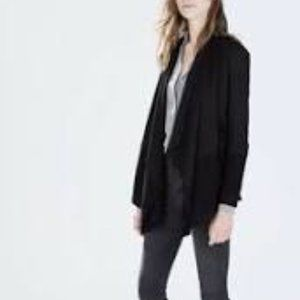 Zara Woman Black Ruffle Waterfall Cardigan